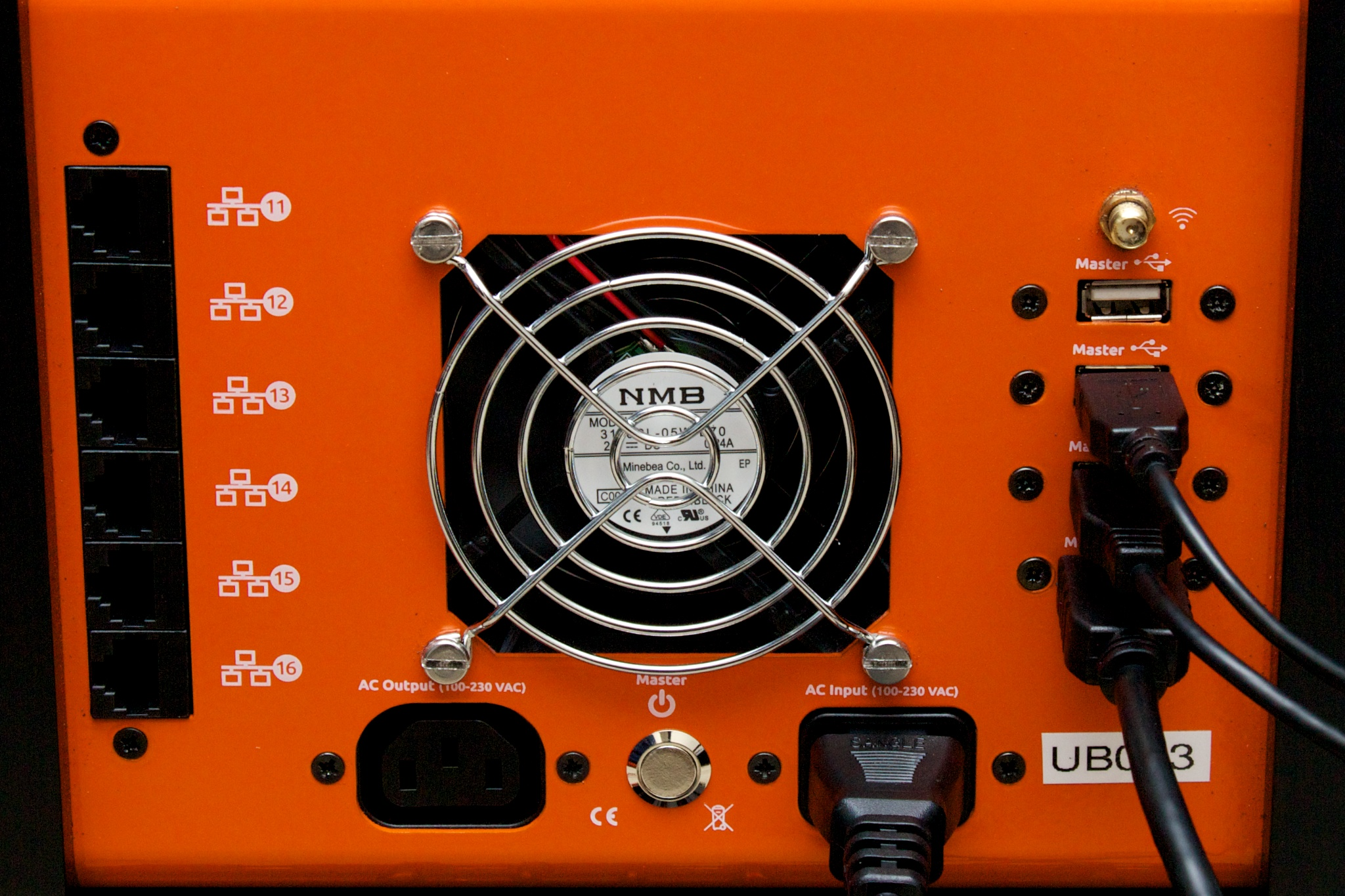The rear of the Orange Box, showing Ethernet connections (they're attached to the internal switch and are used to expand the Orange Box—like if you wanted to cluster it with a twin), power, USB, and HDMI. The USB and HDMI connect to the control node.