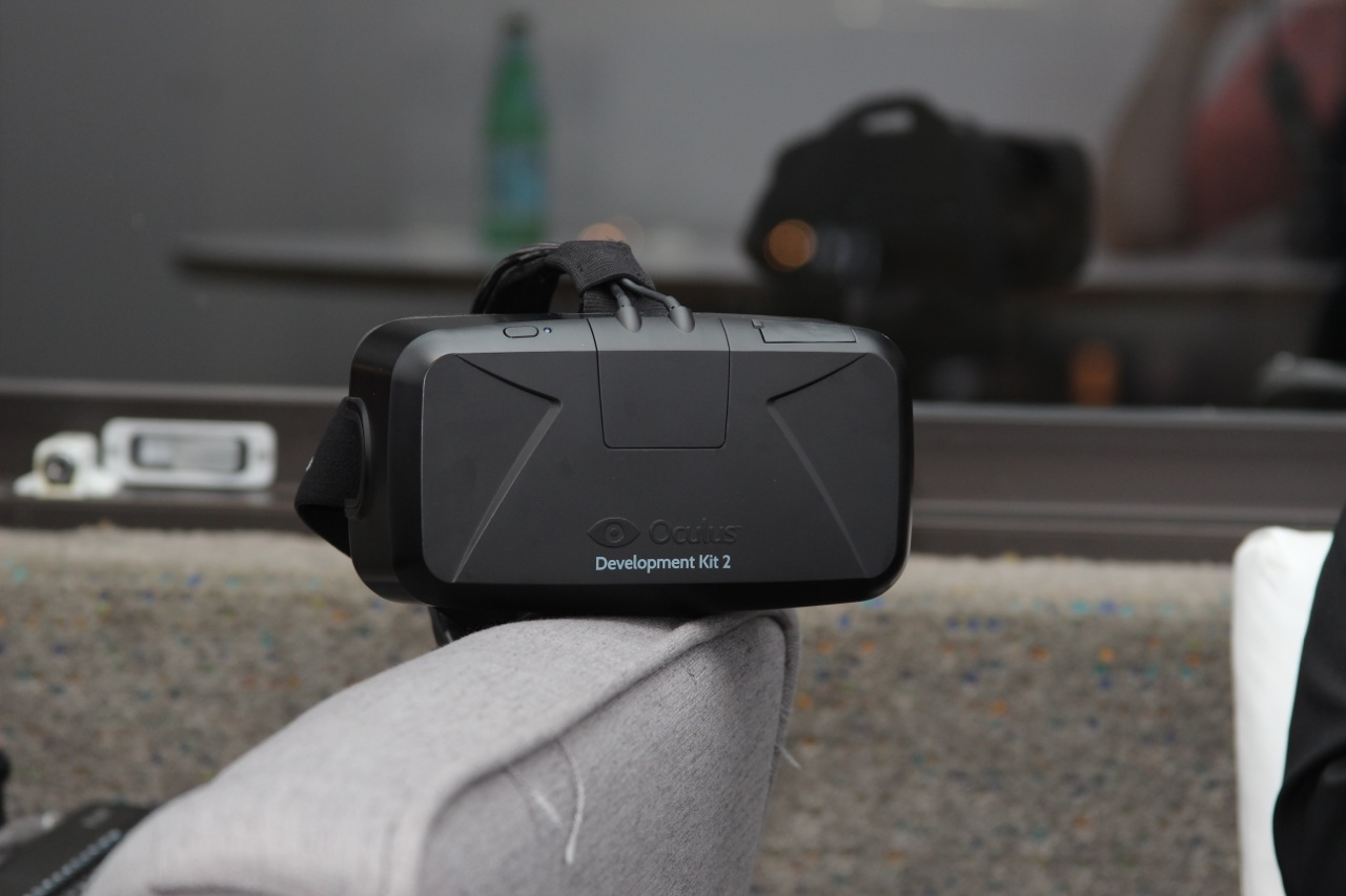 The DK2 Rift being shown at Oculus' E3 meeting room.
