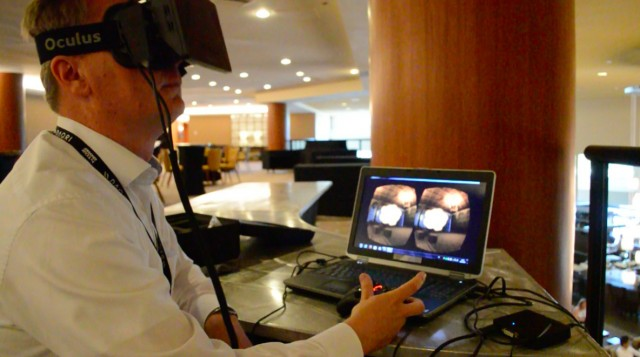 Christian Villwock of SMI uses eye-tracking software in a demo.