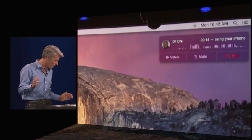 Talking to Dre on a Mac via Craig Federighi's Handoff-capable iOS device.