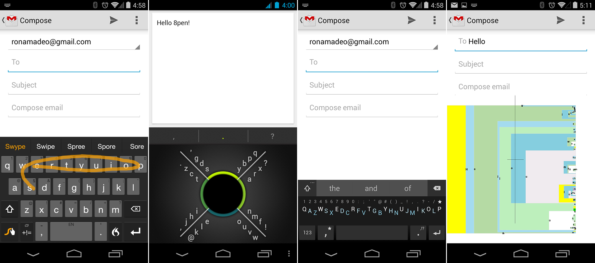 Android Keyboards: Swype, 8pen, Minuum, and Dasher.