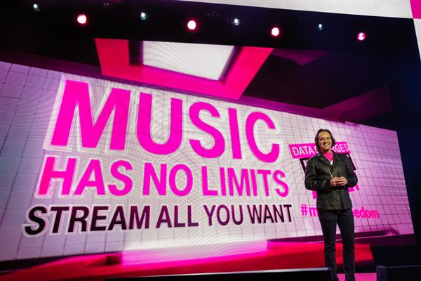 "Next, Legere talked through ""Music Freedom"" (where music from streaming services no longer counts toward customers' data caps) and T-Mobile's new streaming service, ""Rhapsody unRadio."""