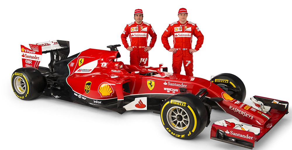 Ferrari's 2014 car, the F14T, along with their superstar drivers, Fernando Alonso (left) and Kimi Raikkonen (right).
