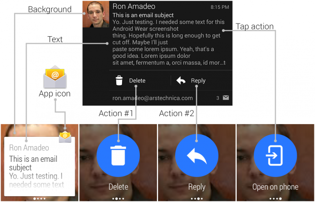 Top: An Android notification. Bottom: The resulting Android Wear notification.