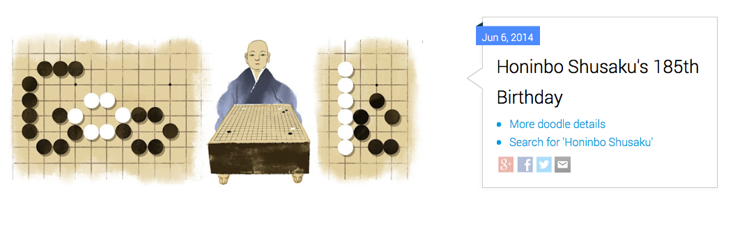 Google's original June 6 doodle for Honinbo Shusaku.
