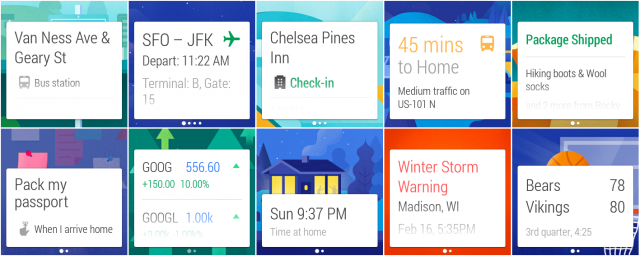 A selection of Google Now cards.