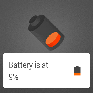 Android Wear's low battery card.