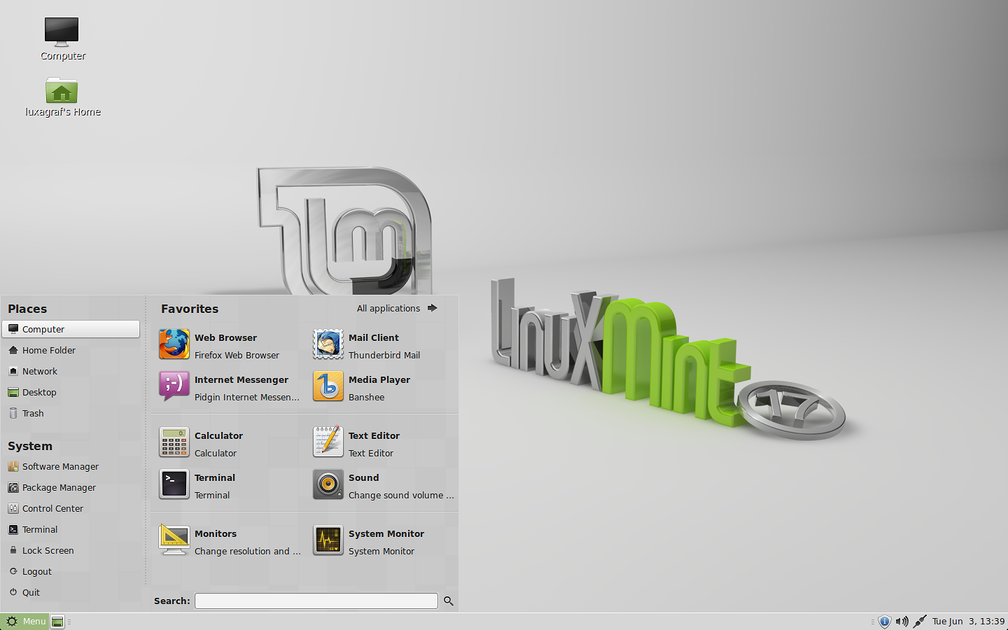 Linux Mint 17 MATE edition.
