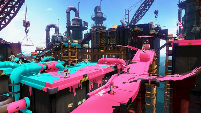 In <em>Splatoon</em>, turn into a squid to swim beneath barriers like pipes and get back to painting.