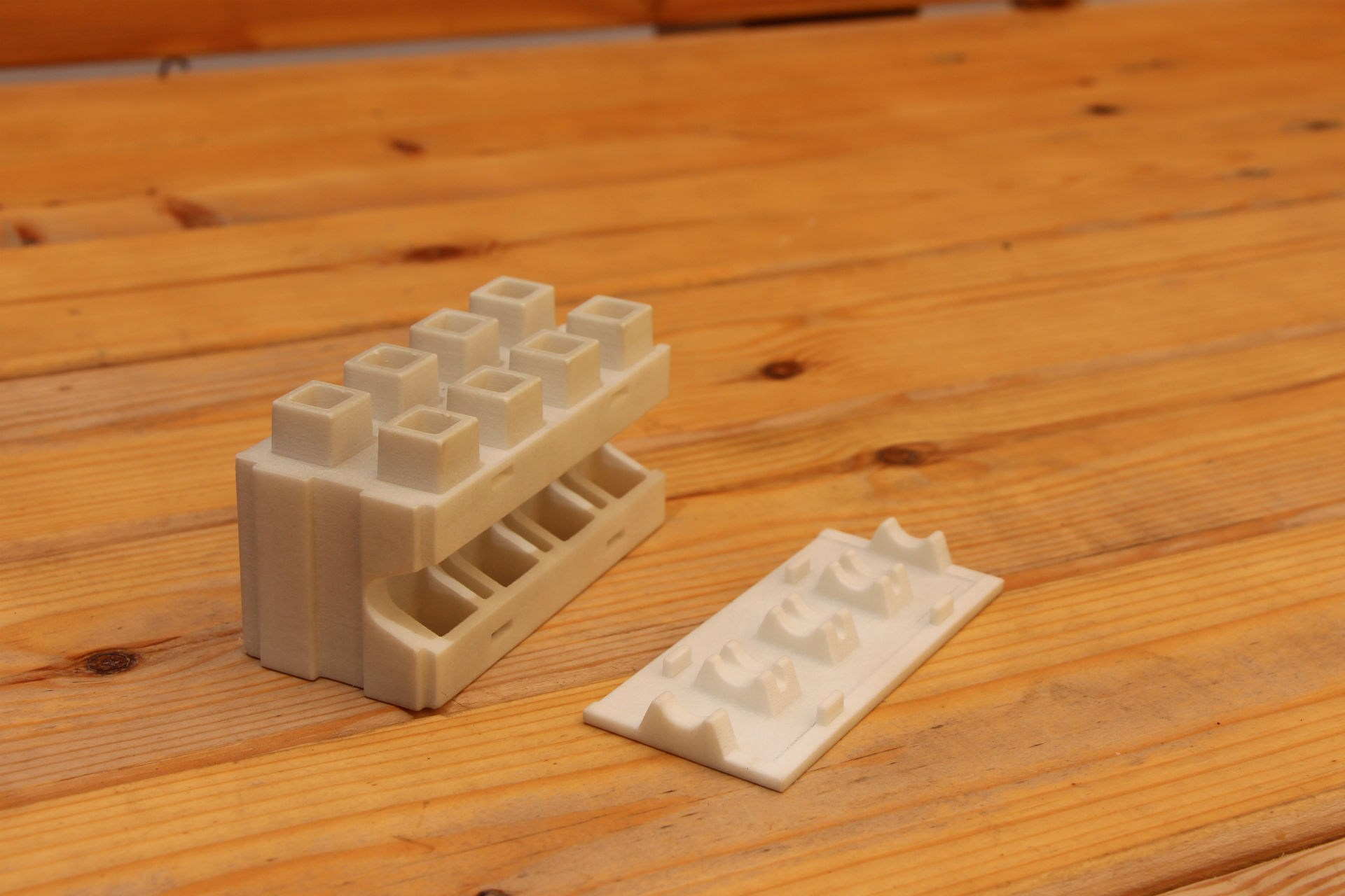 Prototypes for a new type of brick.