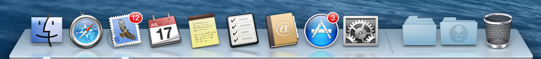 Icons for the same applications in Mavericks.