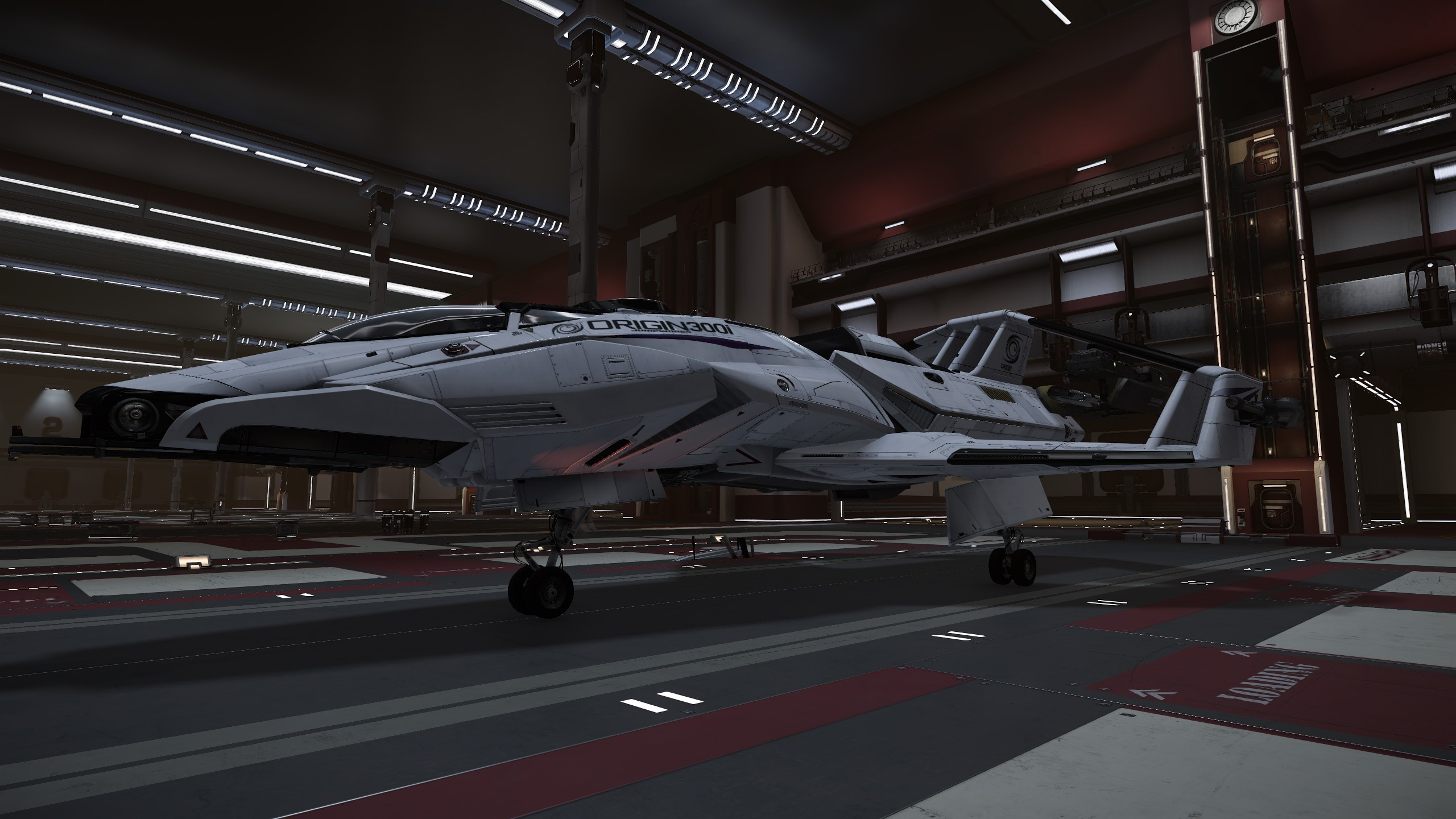 "This is a loaner Origin Jumpworks 300i fighter, sitting in my ""deluxe"" model hangar."