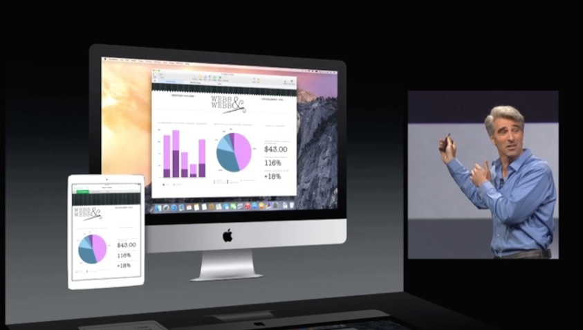 Apple's Craig Federighi demonstrating how an OS X presentation can be opened up on an iPad.