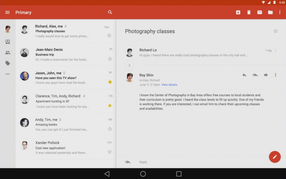 Android L S App Design Early Looks At Youtube Gmail Maps