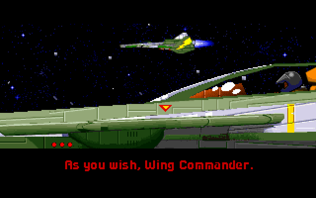 <em>Wing Commander II</em> improved on <em>WC1</em> with more cinematic cutscenes, including this one, which is the inevitable part in the game where they reference the game's title.
