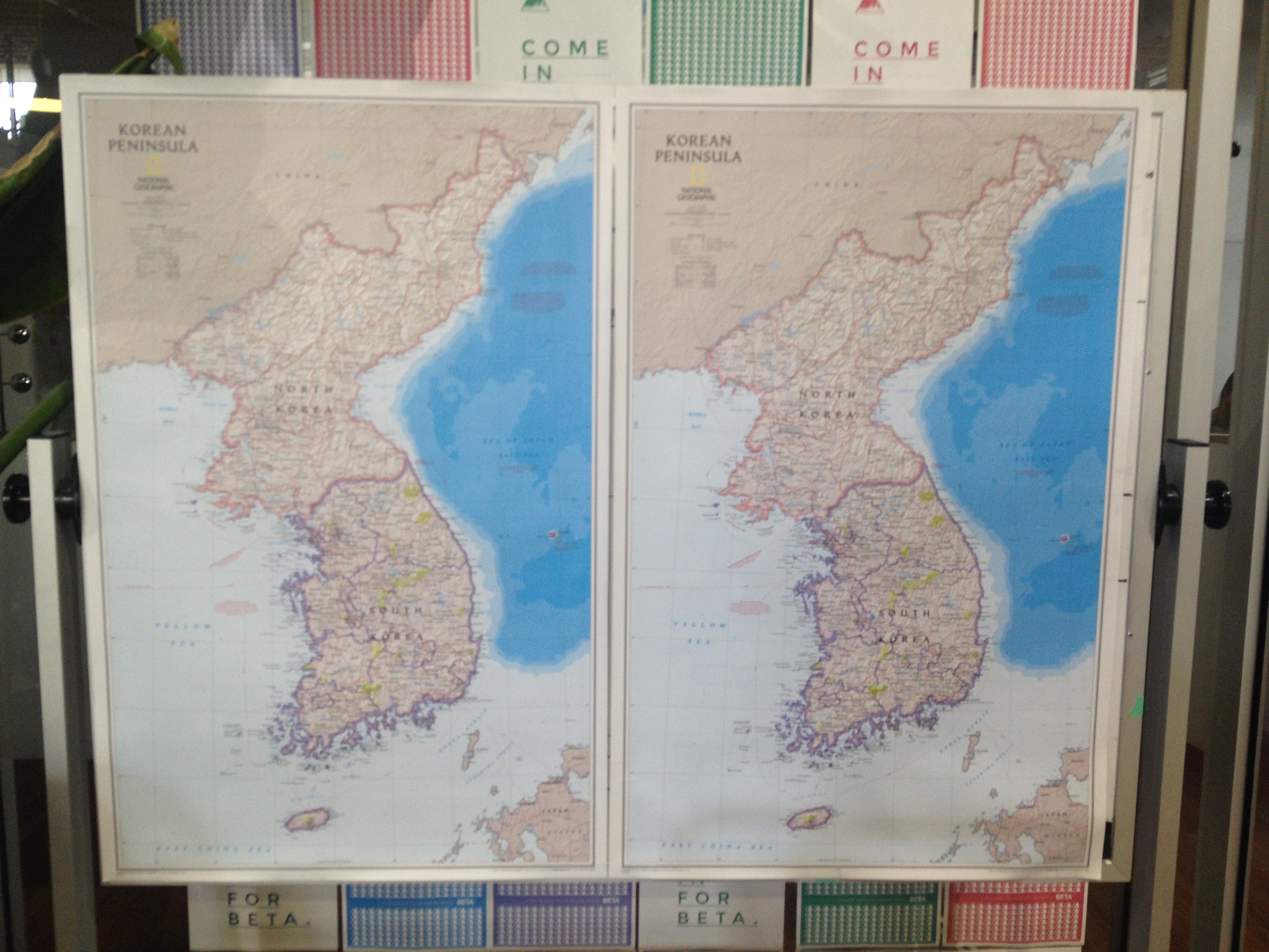 This map of the Korean peninsula served as one of the backdrops at the Hack North Korea event.