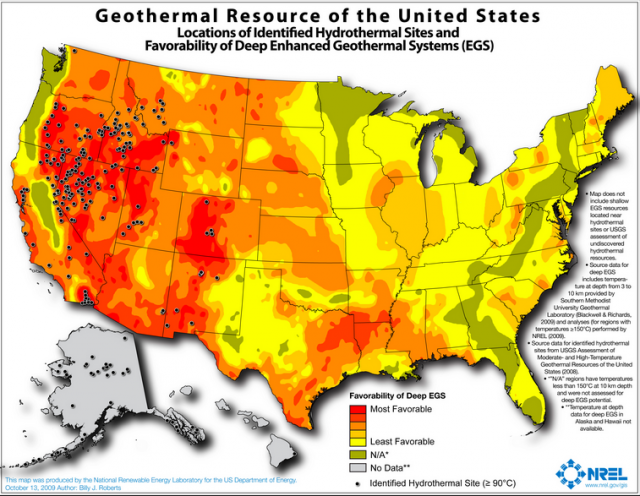 A map using 2009 data shows locations of identified hydrothermal sites and favorability of deep Enhanced Geothermal Systems (EGS). Unfortunately, for all the enthusiastically colored space on this map, the money-making potential of EGS has not yet been realized.