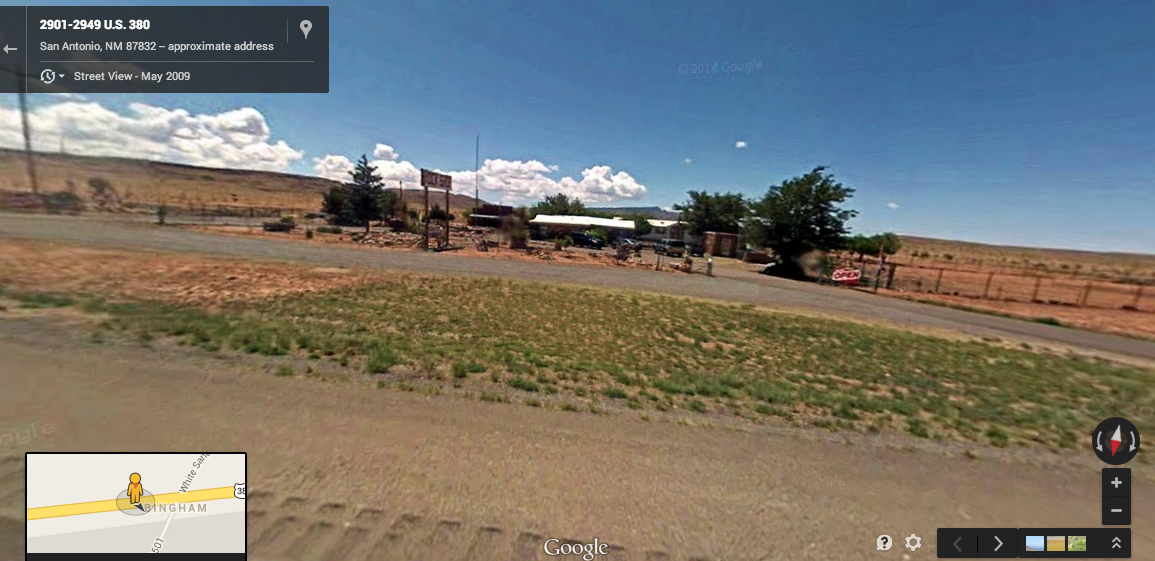 Google Earth shows us the rock shop off New Mexico's highway 380.