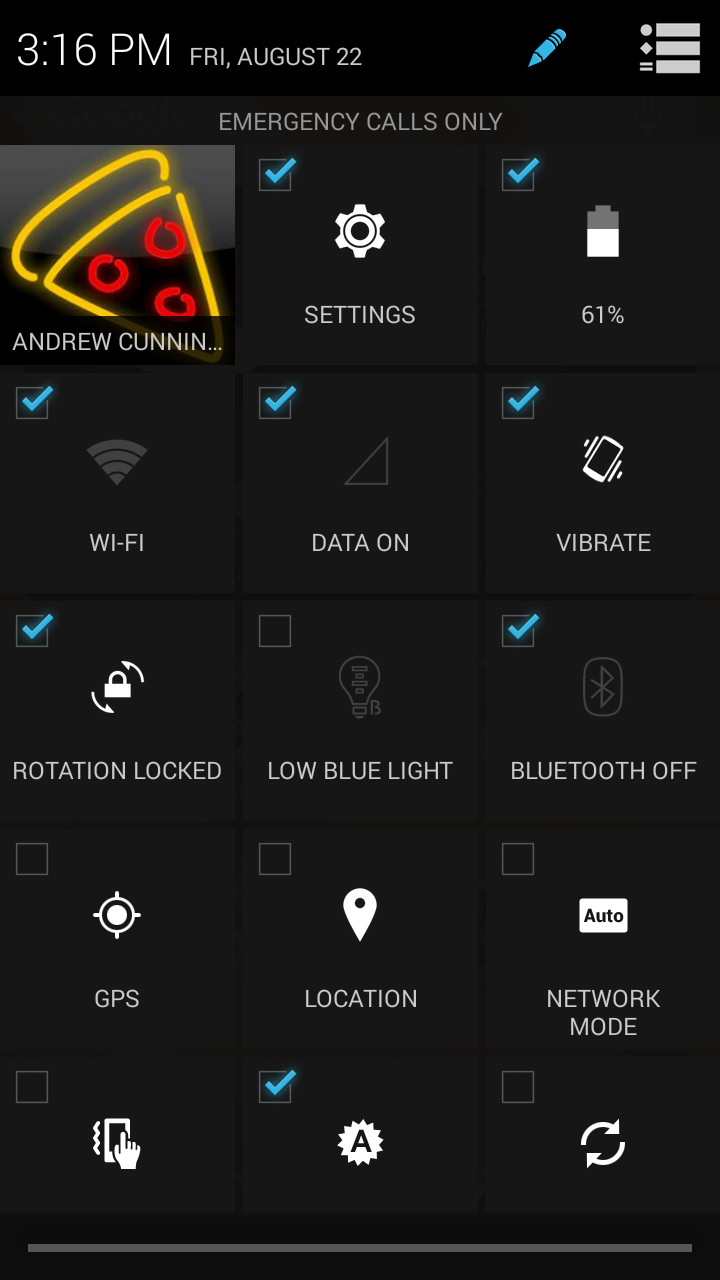 The lengthy (and blessedly customizable) Quick Settings menu adds a whole bunch of stuff to the standard options.