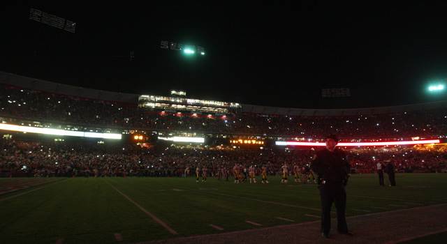 Another kind of blackout: the field goes dark during a 2011 NFL game between the 49ers and Steelers.