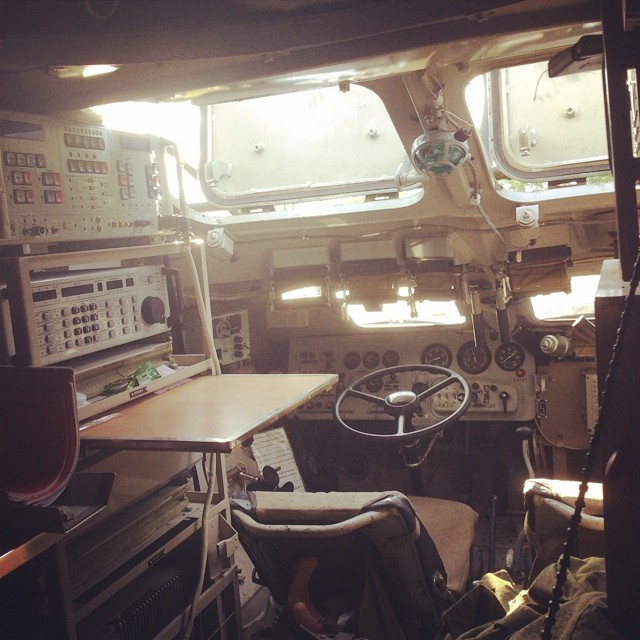 An Instagram post from inside Sotkin's BTR armored vehicle, showing his workstation.