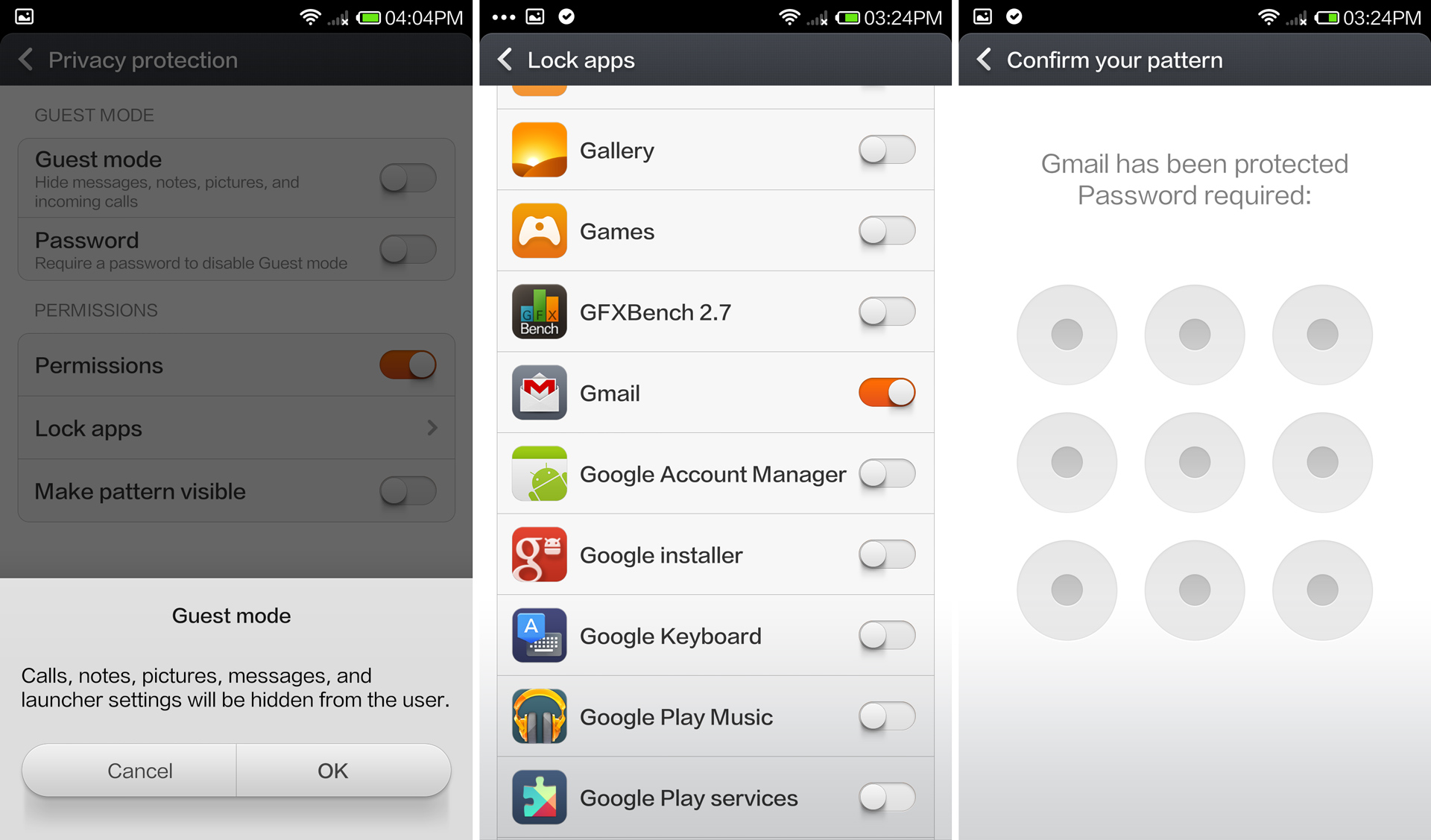 The Guest mode and password protecting an app.