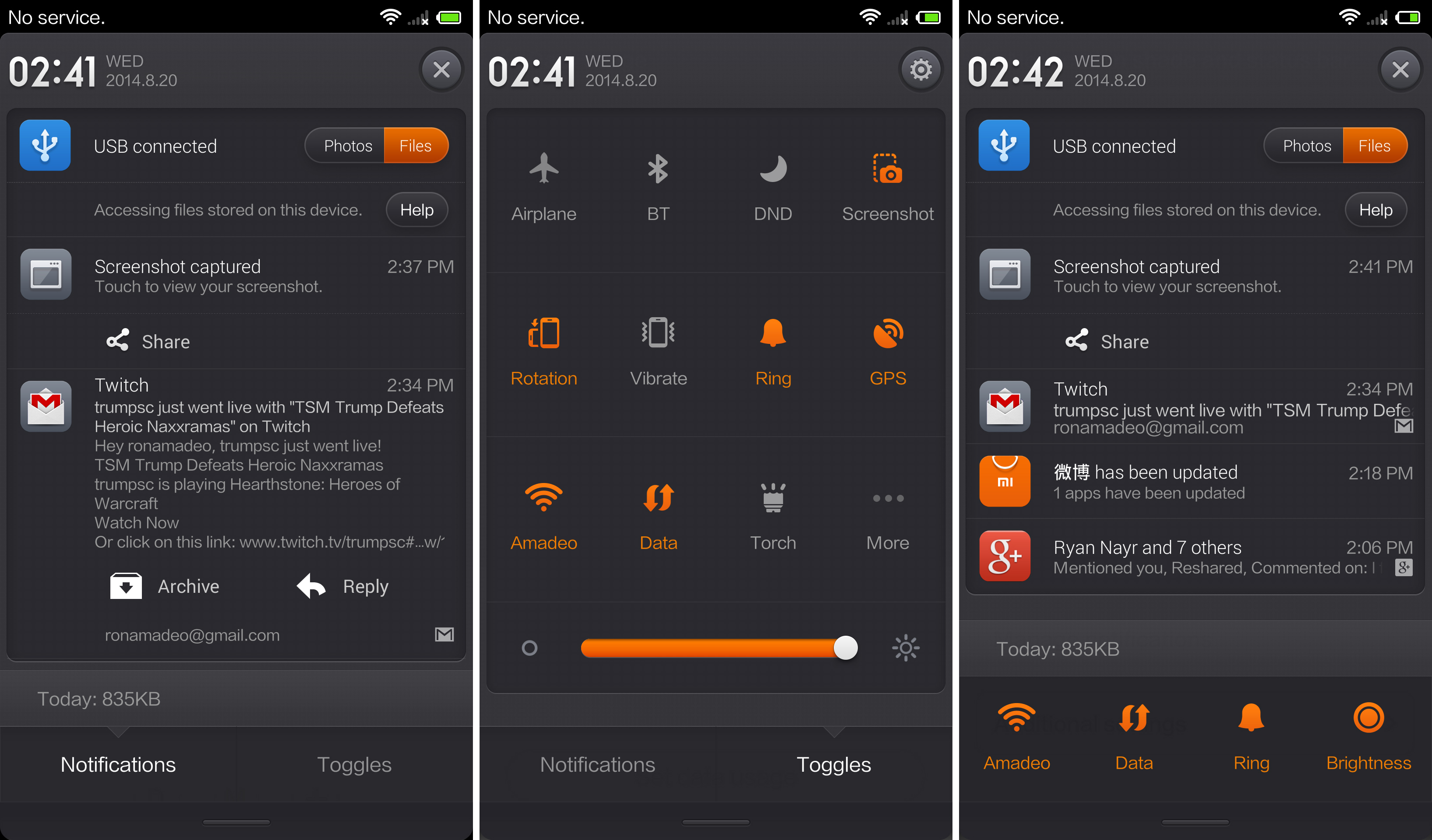 The Notification panel, toggles, and the optional Samsung-style notifications andtoggles layout.