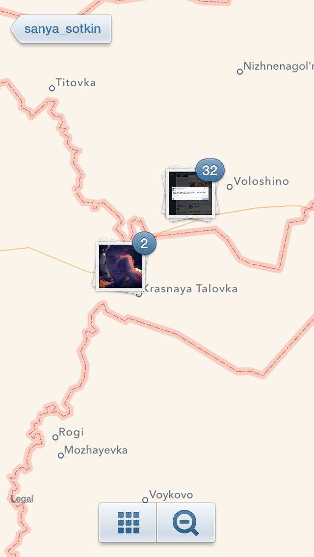 The Instagram Photo Map for Sotkin's images. Maybe it's a GPS aberration; maybe it's a faked post; maybe someone took a wrong turn.
