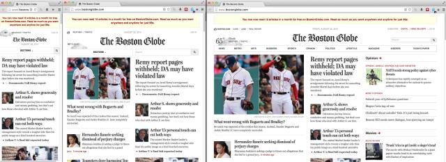 <em>The Boston Globe</em> website at phone, tablet, and desktop sizes.