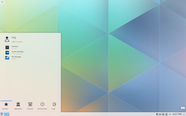 The KDE Plasma 5 desktop's Breeze theme is most complete in the Kickoff menu. Note the type to search message.