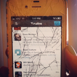 The first time I shattered my iPhone's screen, and paid full price to get it replaced. Like a chump.
