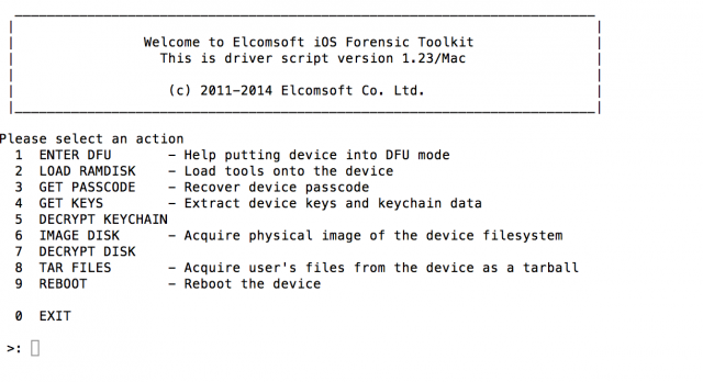 The Terminal interface to Elcomsoft's iOS Forensics Toolkit.