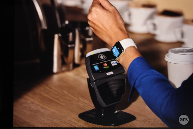 The Apple Watch being used to make a payment.