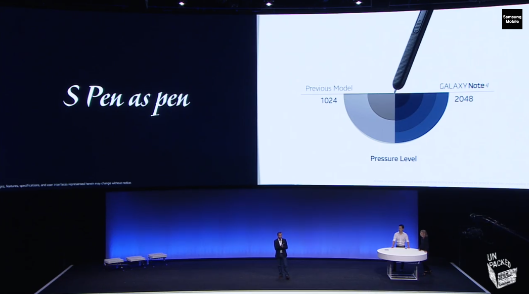 The new S Pen supports more pressure sensitivity levels than before.
