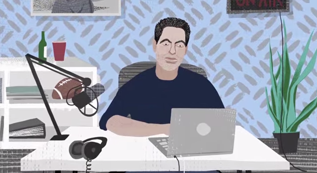 "Cartoon of Adam Carolla doing a podcast, made for an activist video called ""Rise of the Patent Troll."""