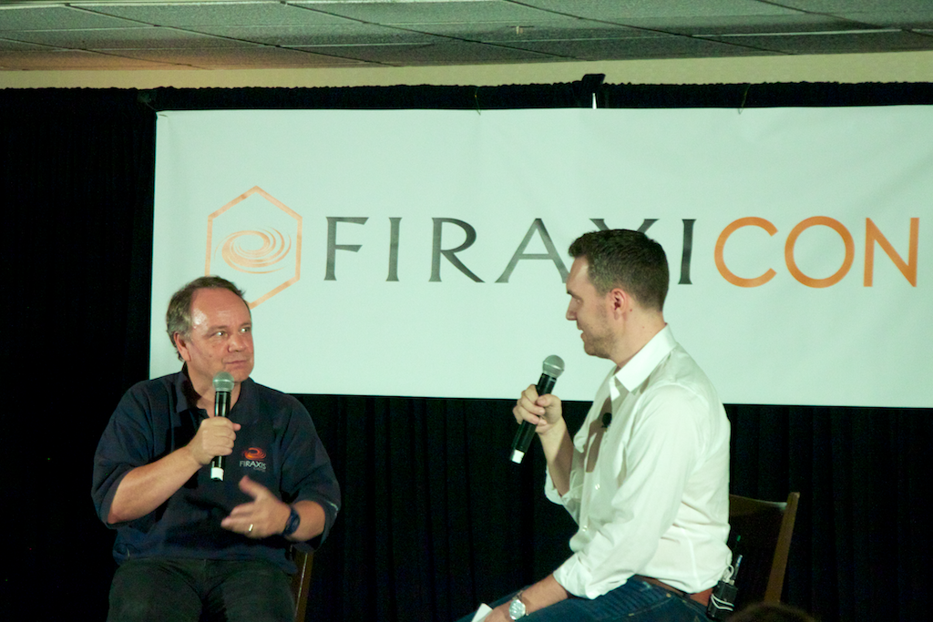 XCom designer Jake Solomon (right) talked to Meier in front of nearly 200 adoring fans at the first ever Firaxicon event.