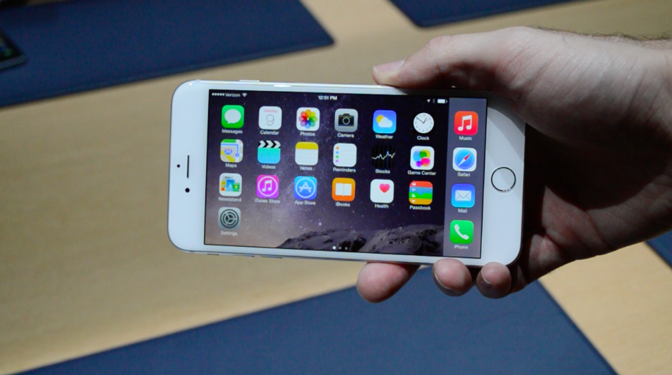 Many landscape mode features, including the horizontal Home screen layout here, are restricted to the iPhone 6 Plus.