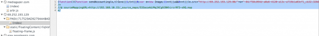 A snippet from a JavaScript file Comcast injected into an Internet surfer's visit to the site Mediagazer.