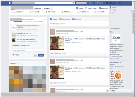 """A Facebook version of the #JLaw lure, propagating itself thanks to forced """"shares."""""""