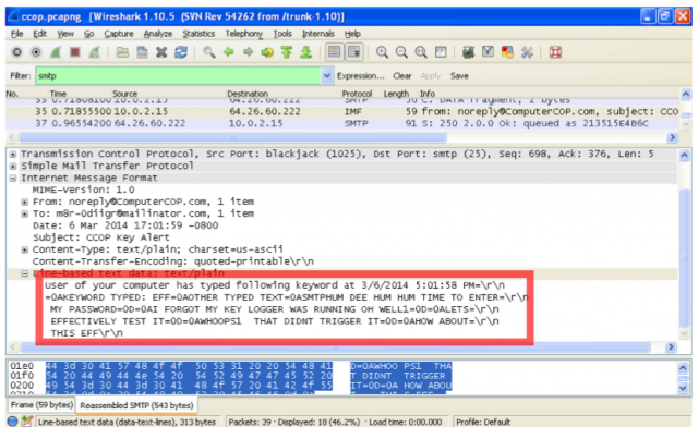 Example of intercepted, unencrypted keylogs using Wireshark, a free packet sniffer.