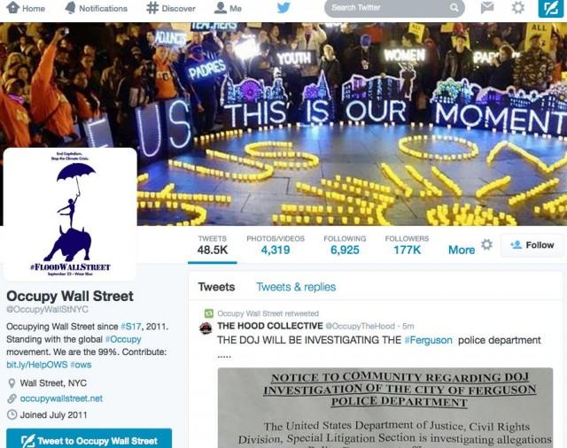 Occupy Wall Street activists sue over Twitter account