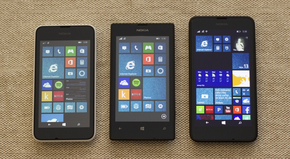 From left to right: The Lumia 530, 520, and 635.
