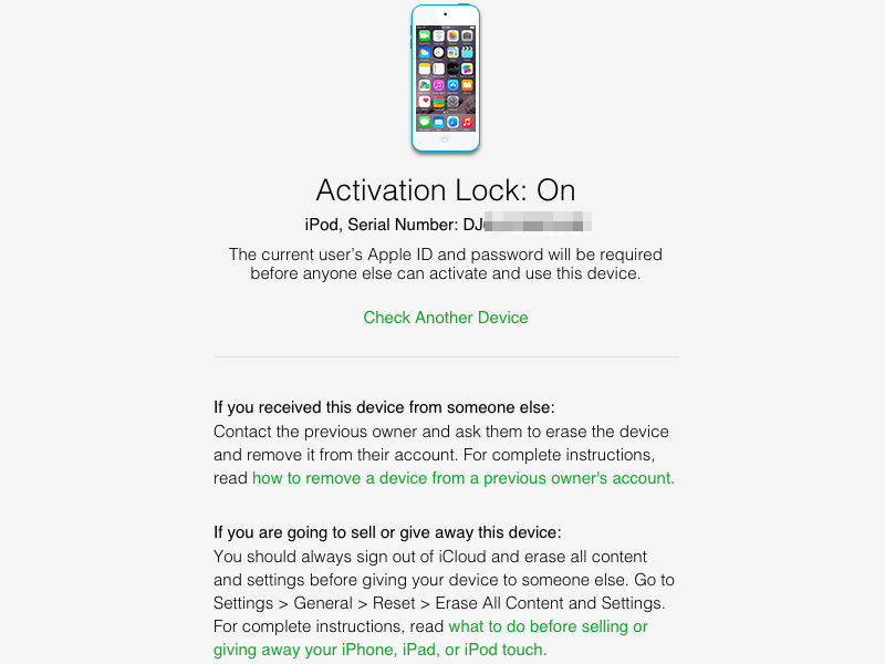 The page will tell you whether Activation Lock is enabled and what kind of device you're looking at.