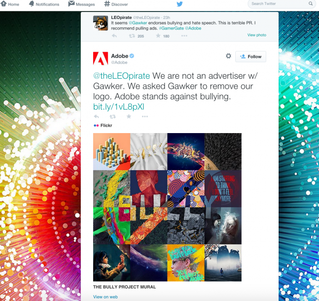 "After #GamerGate tweet, Adobe distances itself from Gawker ""bullying"" [Updated]"