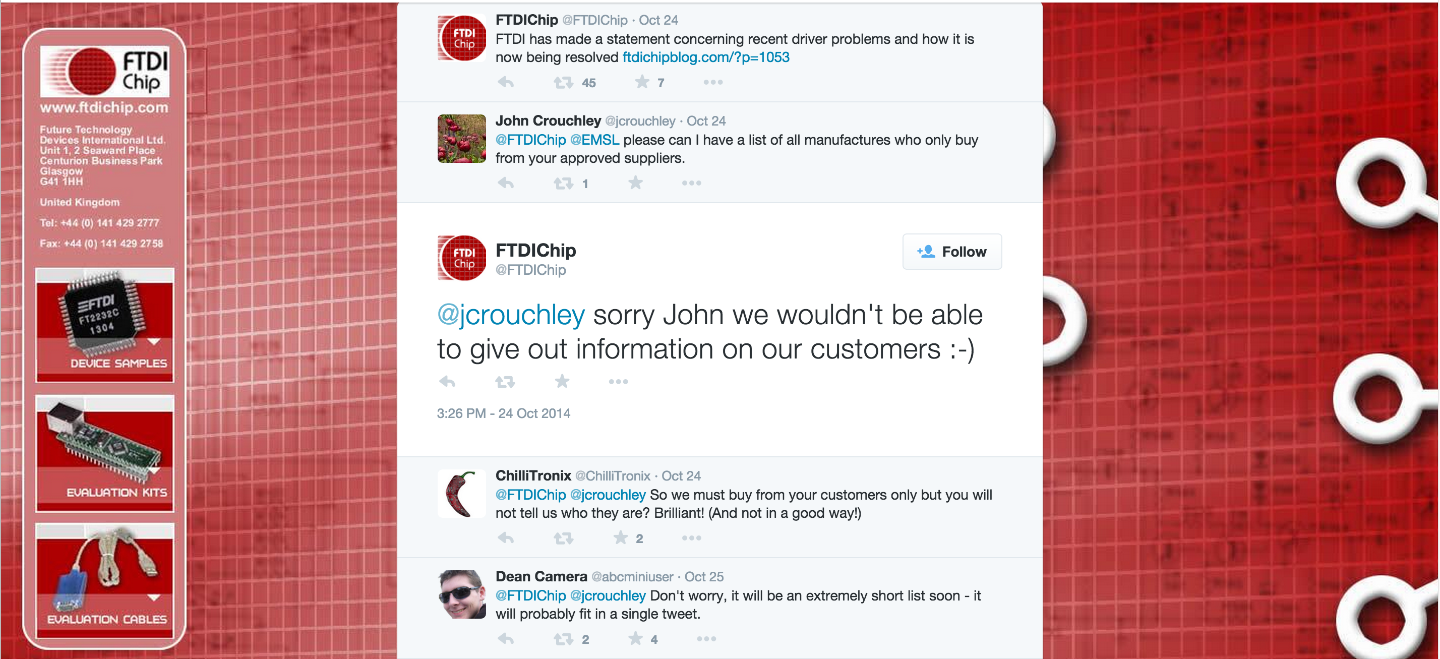 An interaction between an FTDI spokesperson and users on Twitter. Playing coy may just lose customers.