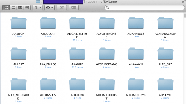 """A screenshot provided by an Ars reader of folders of Snapchat photos from the """"Snappening"""" file torrent, organized by user name."""