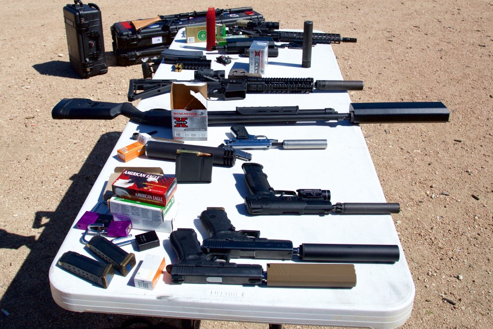 The veritable smorgasbord of firearms and suppressors Schauble brought for us to experiment with.
