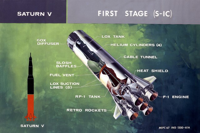 Cutaway of a Saturn V's S-IC first stage, with helium pressurization tankage visible.