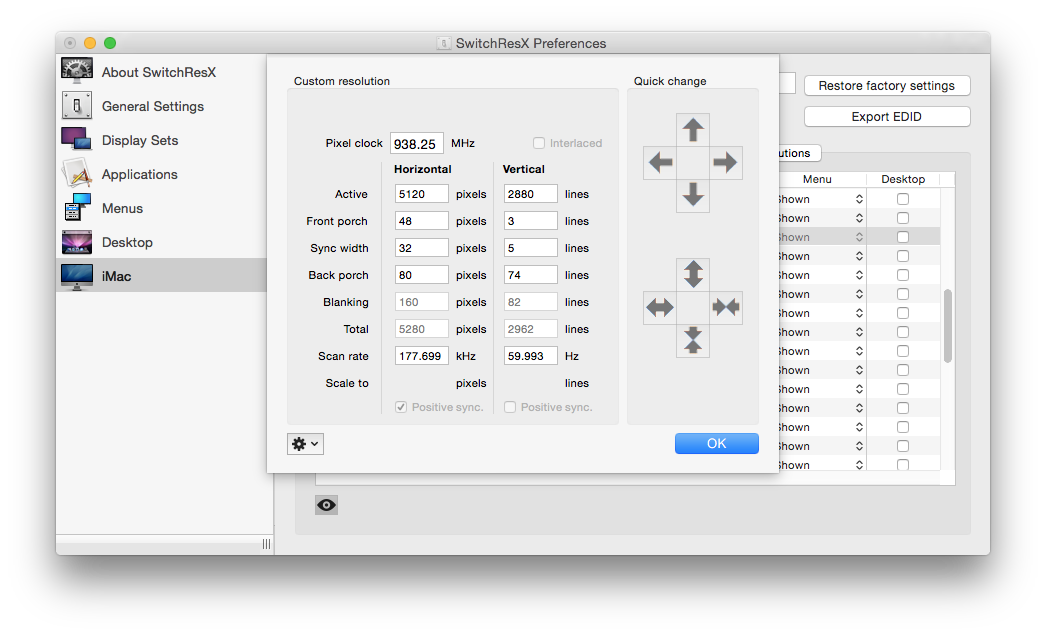 """The output from <a href=""""http://www.madrau.com/"""">SwitchResX</a> on the Retina iMac, showing the 60Hz refresh rate."""