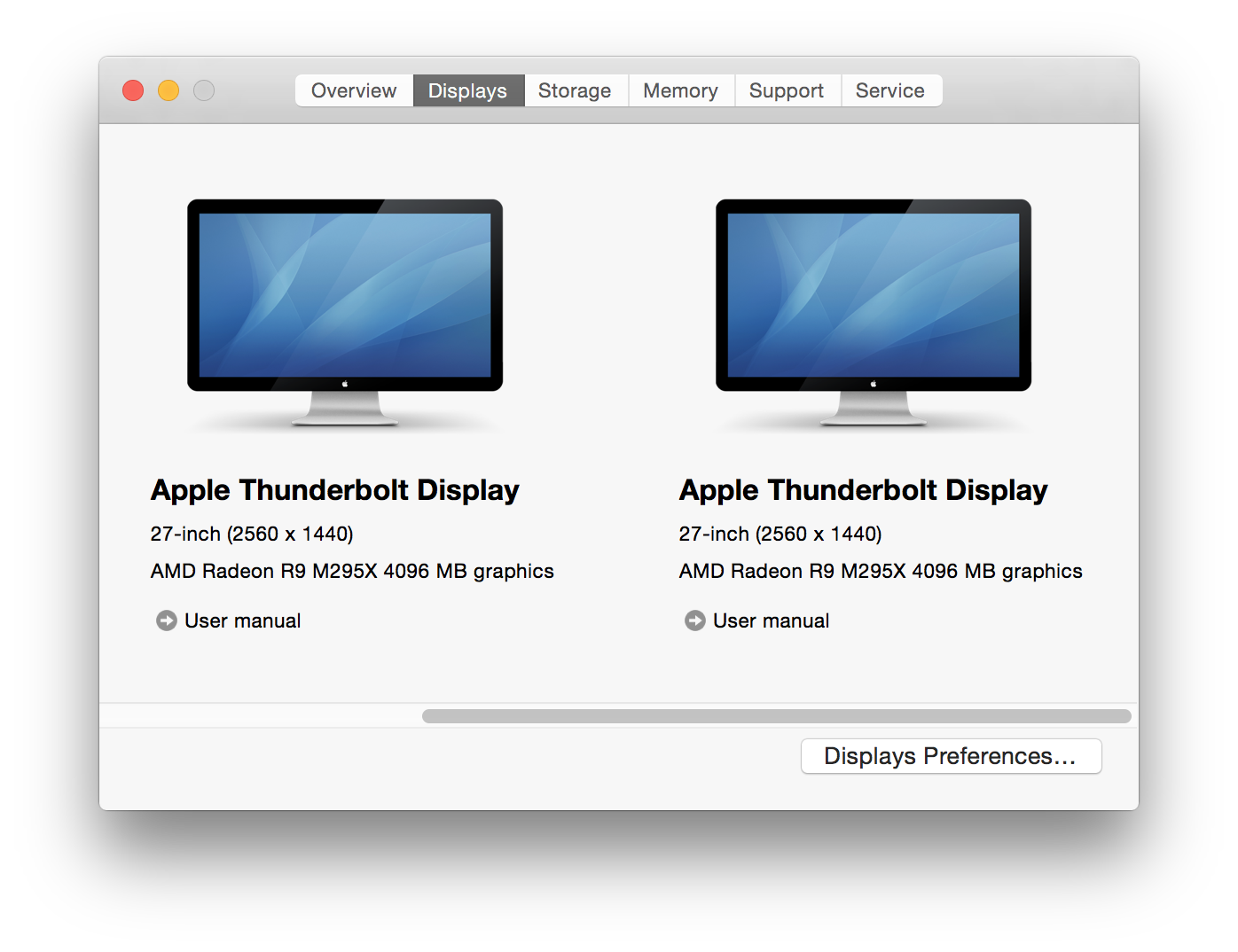 """The Retina iMac's """"About This Mac"""" function, showing the pair of external monitors attached via Thunderbolt."""